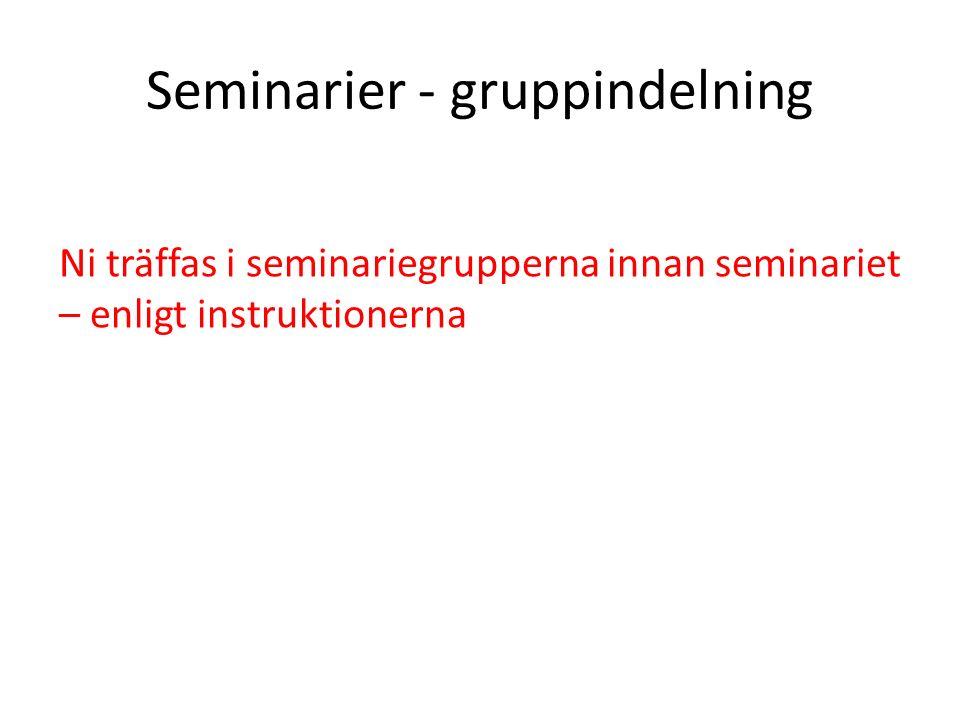 Seminarier - gruppindelning Ni träffas i seminariegrupperna innan seminariet – enligt instruktionerna