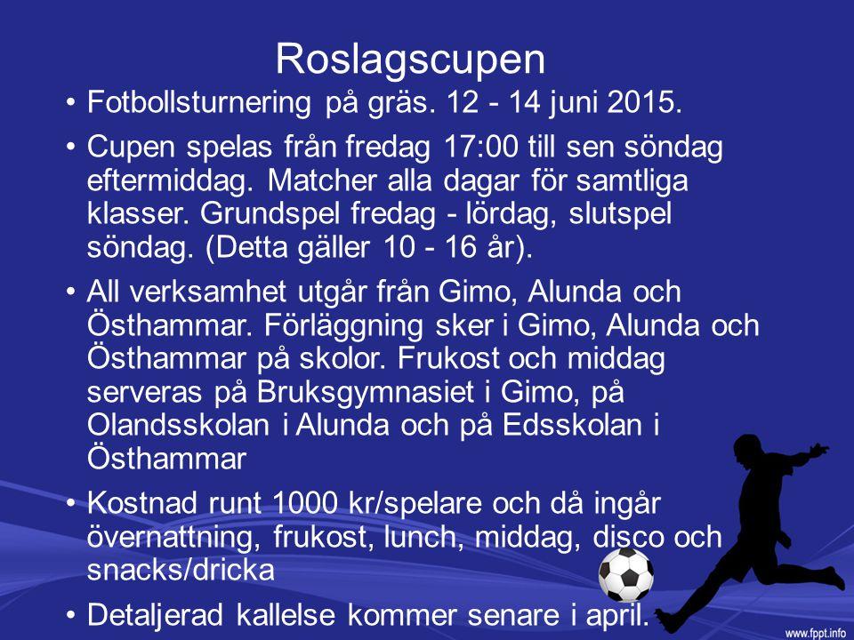 Roslagscupen Fotbollsturnering på gräs. 12 - 14 juni 2015. Cupen spelas från fredag 17:00 till sen söndag eftermiddag. Matcher alla dagar för samtliga