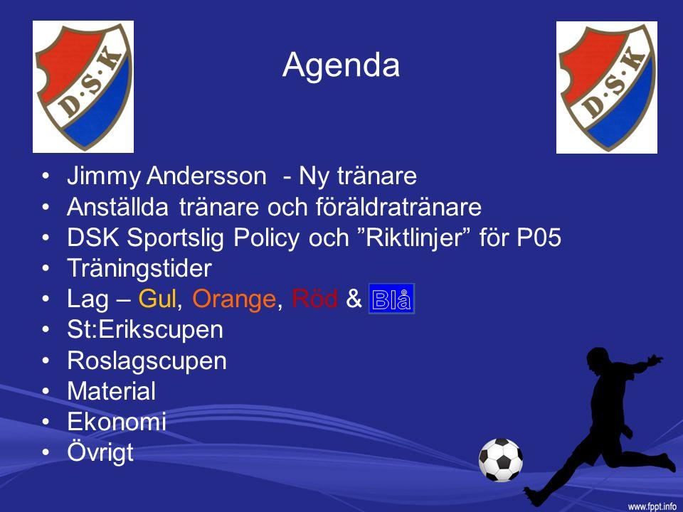 """Agenda Jimmy Andersson - Ny tränare Anställda tränare och föräldratränare DSK Sportslig Policy och """"Riktlinjer"""" för P05 Träningstider Lag – Gul, Orang"""