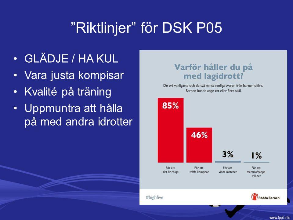 Riktlinjer för DSK P05 GLÄDJE / HA KUL Vara justa kompisar Kvalité på träning Uppmuntra att hålla på med andra idrotter