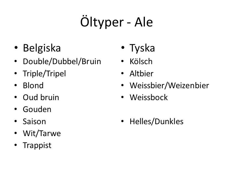 Öltyper - Ale Belgiska Double/Dubbel/Bruin Triple/Tripel Blond Oud bruin Gouden Saison Wit/Tarwe Trappist Tyska Kölsch Altbier Weissbier/Weizenbier Weissbock Helles/Dunkles