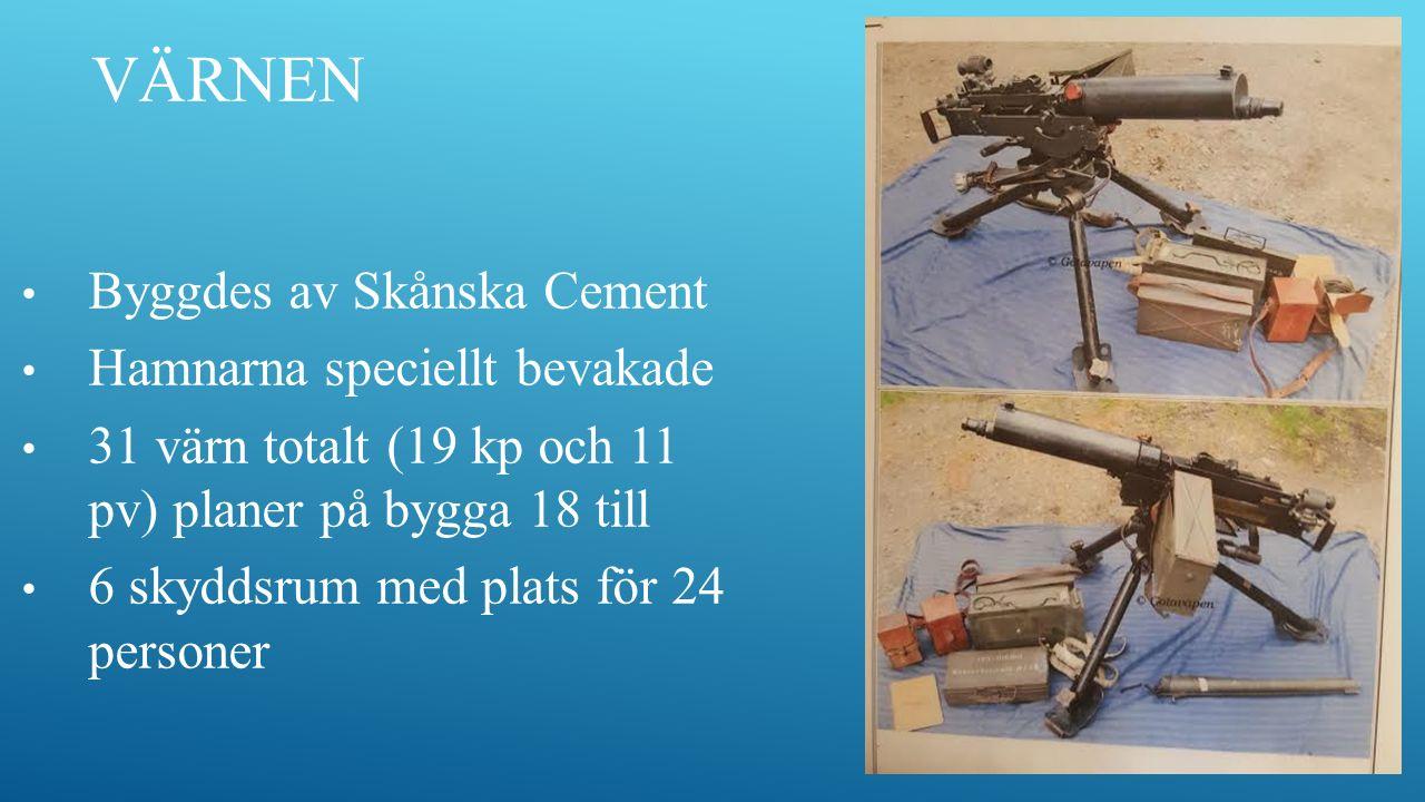 Byggdes av Skånska Cement Hamnarna speciellt bevakade 31 värn totalt (19 kp och 11 pv) planer på bygga 18 till 6 skyddsrum med plats för 24 personer VÄRNEN