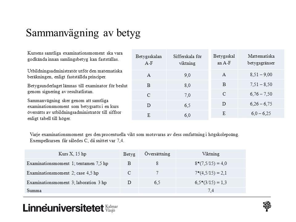 Sammanvägning av betyg Betygsskalan A-F Sifferskala för viktning A9,0 B8,0 C7,0 D6,5 E6,0 Betygsskal an A-F Mattematiska betygsgränser A8,51 – 9,00 B7,51 – 8,50 C6,76 – 7,50 D6,26 – 6,75 E6,0 – 6,25 Kursens samtliga examinationsmoment ska vara godkända innan samlingsbetyg kan fastställas.