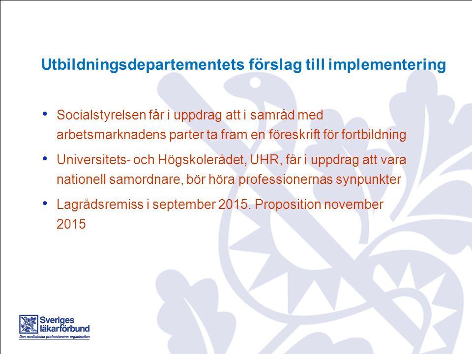 Socialstyrelsen får i uppdrag att i samråd med arbetsmarknadens parter ta fram en föreskrift för fortbildning Universitets- och Högskolerådet, UHR, får i uppdrag att vara nationell samordnare, bör höra professionernas synpunkter Lagrådsremiss i september 2015.