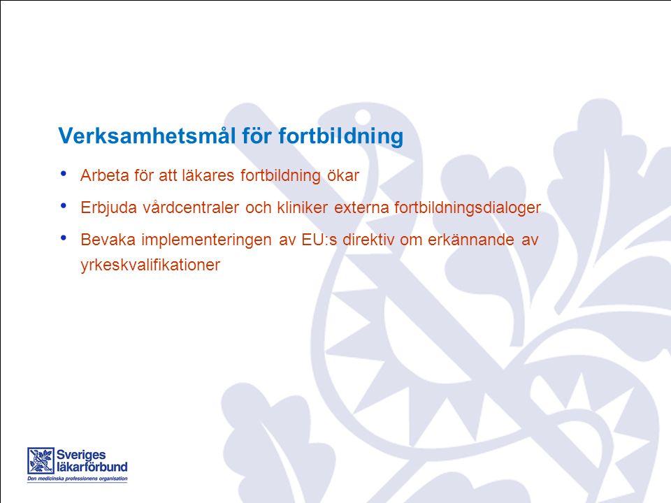 Arbeta för att läkares fortbildning ökar Erbjuda vårdcentraler och kliniker externa fortbildningsdialoger Bevaka implementeringen av EU:s direktiv om erkännande av yrkeskvalifikationer Verksamhetsmål för fortbildning