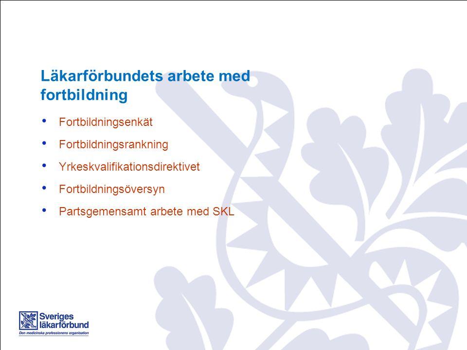 Fortbildningsenkät Fortbildningsrankning Yrkeskvalifikationsdirektivet Fortbildningsöversyn Partsgemensamt arbete med SKL Läkarförbundets arbete med f