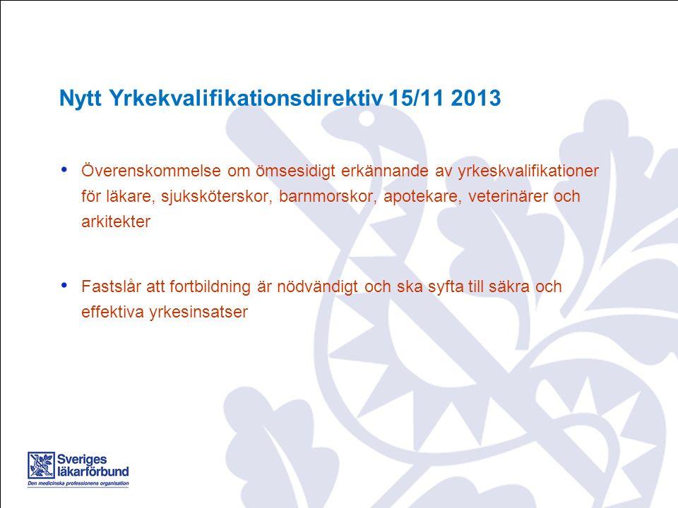 Överenskommelse om ömsesidigt erkännande av yrkeskvalifikationer för läkare, sjuksköterskor, barnmorskor, apotekare, veterinärer och arkitekter Fastsl