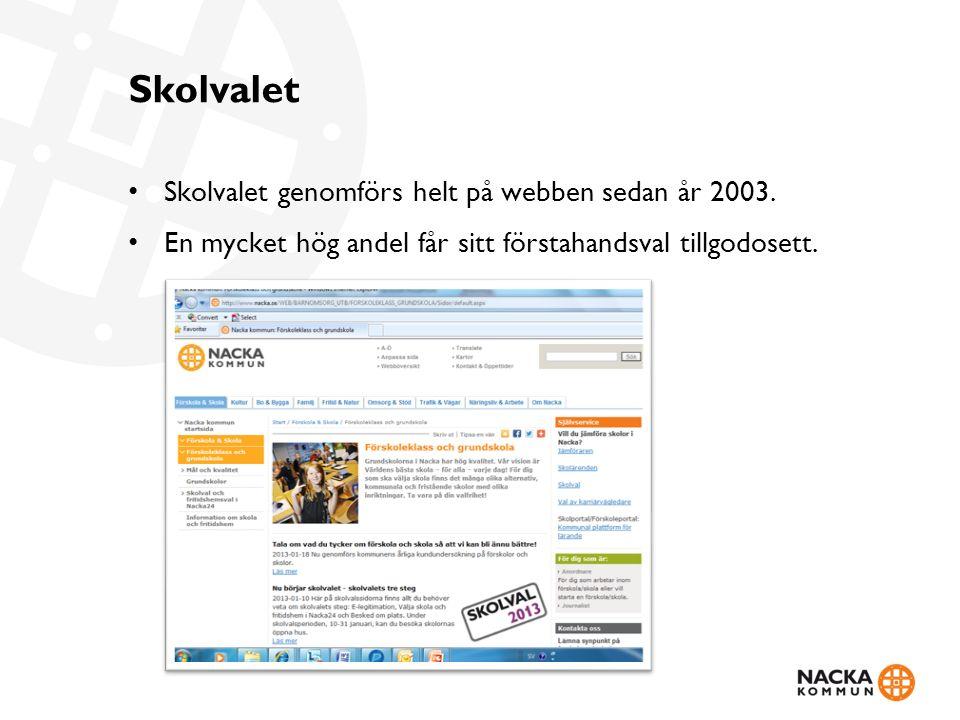 Skolvalet Skolvalet genomförs helt på webben sedan år 2003. En mycket hög andel får sitt förstahandsval tillgodosett.