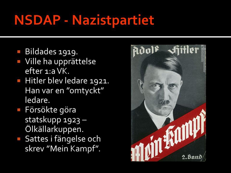 """ Bildades 1919.  Ville ha upprättelse efter 1:a VK.  Hitler blev ledare 1921. Han var en """"omtyckt"""" ledare.  Försökte göra statskupp 1923 – Ölkälla"""