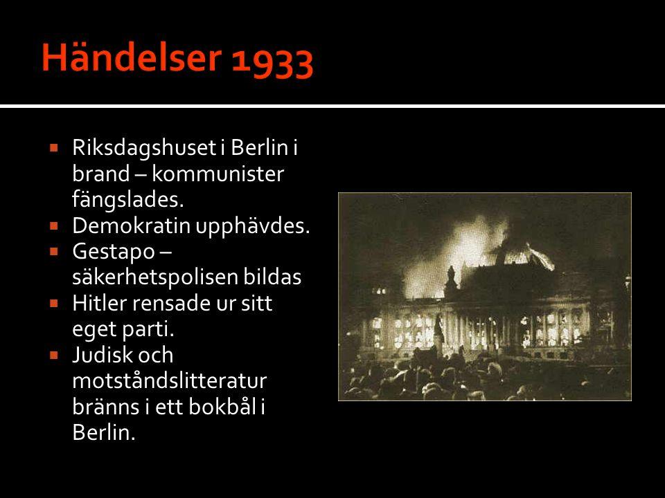  Riksdagshuset i Berlin i brand – kommunister fängslades.  Demokratin upphävdes.  Gestapo – säkerhetspolisen bildas  Hitler rensade ur sitt eget p