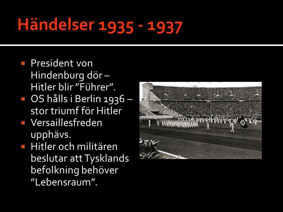 """ President von Hindenburg dör – Hitler blir """"Führer"""".  OS hålls i Berlin 1936 – stor triumf för Hitler  Versaillesfreden upphävs.  Hitler och mili"""
