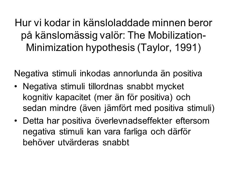 Hur vi kodar in känsloladdade minnen beror på känslomässig valör: The Mobilization- Minimization hypothesis (Taylor, 1991) Negativa stimuli inkodas annorlunda än positiva Negativa stimuli tillordnas snabbt mycket kognitiv kapacitet (mer än för positiva) och sedan mindre (även jämfört med positiva stimuli) Detta har positiva överlevnadseffekter eftersom negativa stimuli kan vara farliga och därför behöver utvärderas snabbt