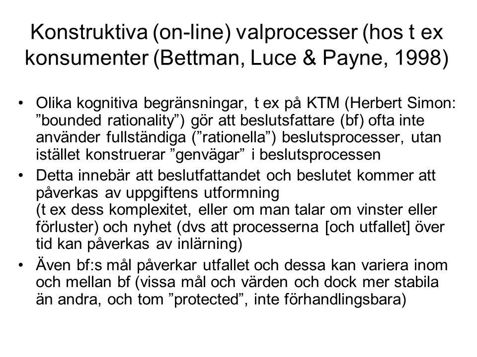 Konstruktiva (on-line) valprocesser (hos t ex konsumenter (Bettman, Luce & Payne, 1998) Olika kognitiva begränsningar, t ex på KTM (Herbert Simon: bounded rationality ) gör att beslutsfattare (bf) ofta inte använder fullständiga ( rationella ) beslutsprocesser, utan istället konstruerar genvägar i beslutsprocessen Detta innebär att beslutfattandet och beslutet kommer att påverkas av uppgiftens utformning (t ex dess komplexitet, eller om man talar om vinster eller förluster) och nyhet (dvs att processerna [och utfallet] över tid kan påverkas av inlärning) Även bf:s mål påverkar utfallet och dessa kan variera inom och mellan bf (vissa mål och värden och dock mer stabila än andra, och tom protected , inte förhandlingsbara)