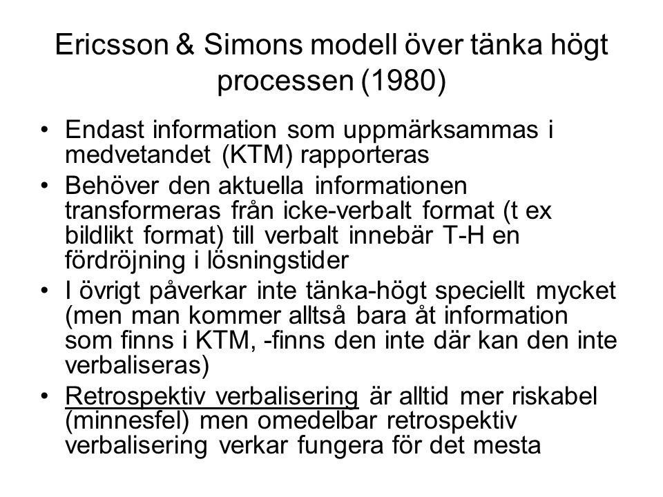 Ericsson & Simons modell över tänka högt processen (1980) Endast information som uppmärksammas i medvetandet (KTM) rapporteras Behöver den aktuella informationen transformeras från icke-verbalt format (t ex bildlikt format) till verbalt innebär T-H en fördröjning i lösningstider I övrigt påverkar inte tänka-högt speciellt mycket (men man kommer alltså bara åt information som finns i KTM, -finns den inte där kan den inte verbaliseras) Retrospektiv verbalisering är alltid mer riskabel (minnesfel) men omedelbar retrospektiv verbalisering verkar fungera för det mesta
