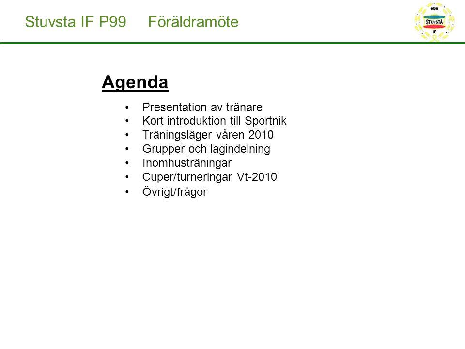 Agenda Presentation av tränare Kort introduktion till Sportnik Träningsläger våren 2010 Grupper och lagindelning Inomhusträningar Cuper/turneringar Vt