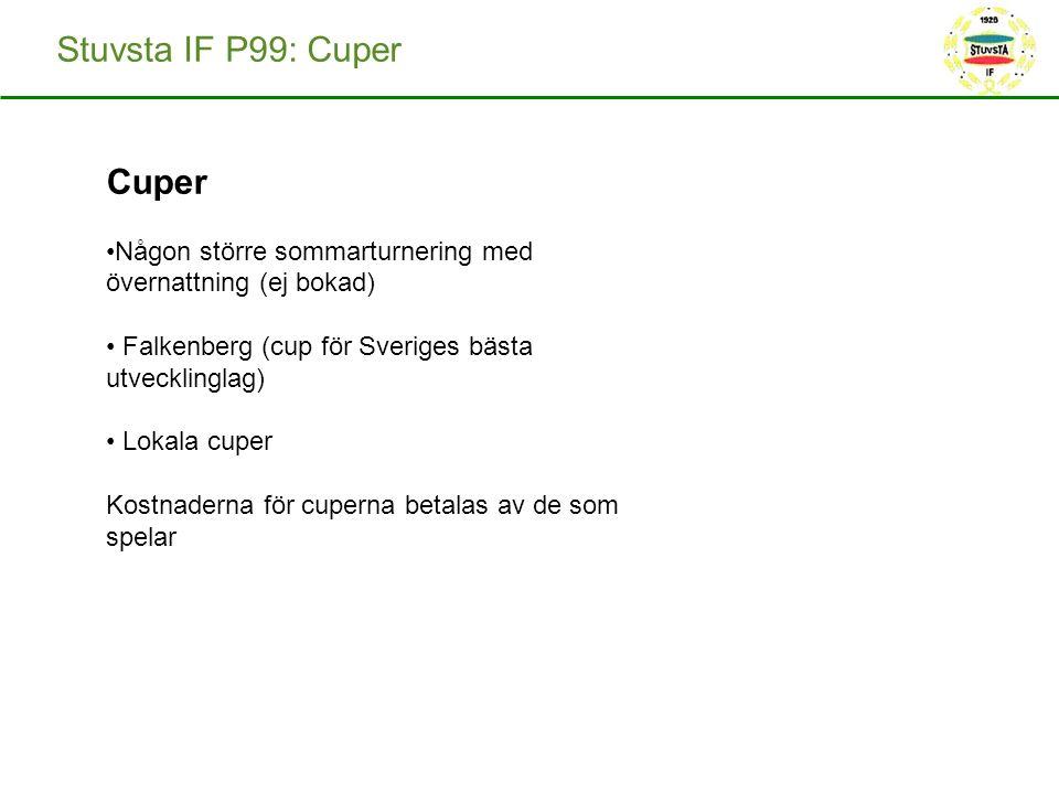 Stuvsta IF P99: Cuper Cuper Någon större sommarturnering med övernattning (ej bokad) Falkenberg (cup för Sveriges bästa utvecklinglag) Lokala cuper Kostnaderna för cuperna betalas av de som spelar