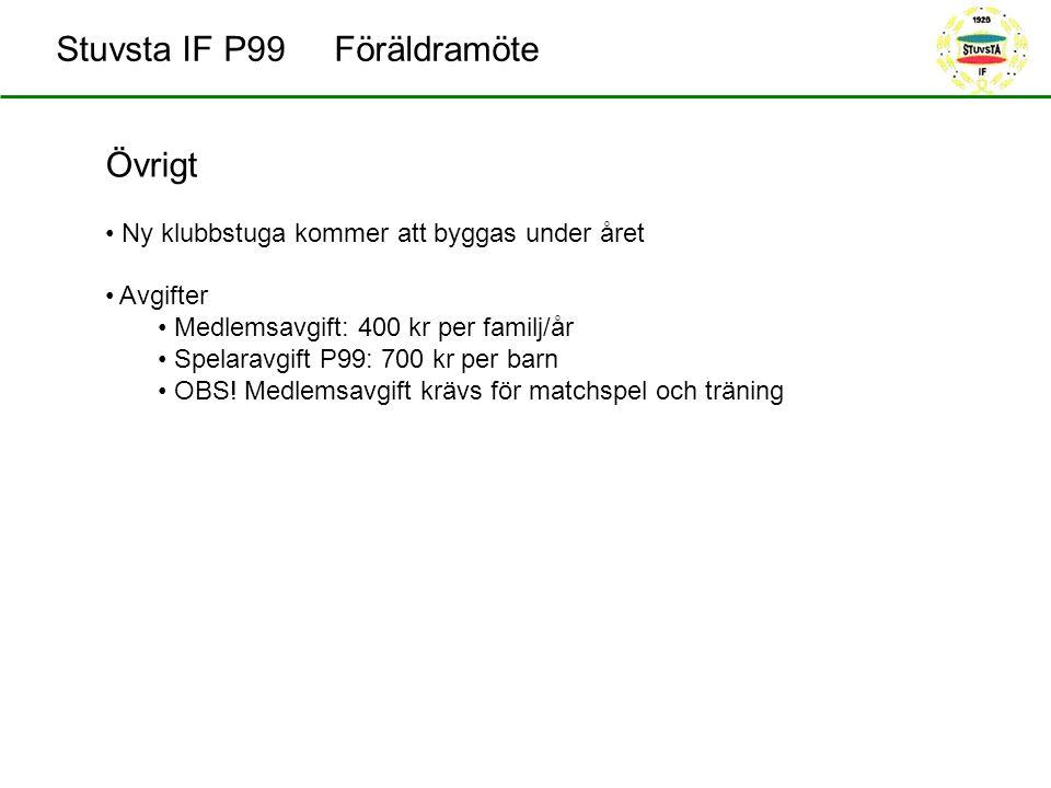 Stuvsta IF P99 Föräldramöte Övrigt Ny klubbstuga kommer att byggas under året Avgifter Medlemsavgift: 400 kr per familj/år Spelaravgift P99: 700 kr per barn OBS.