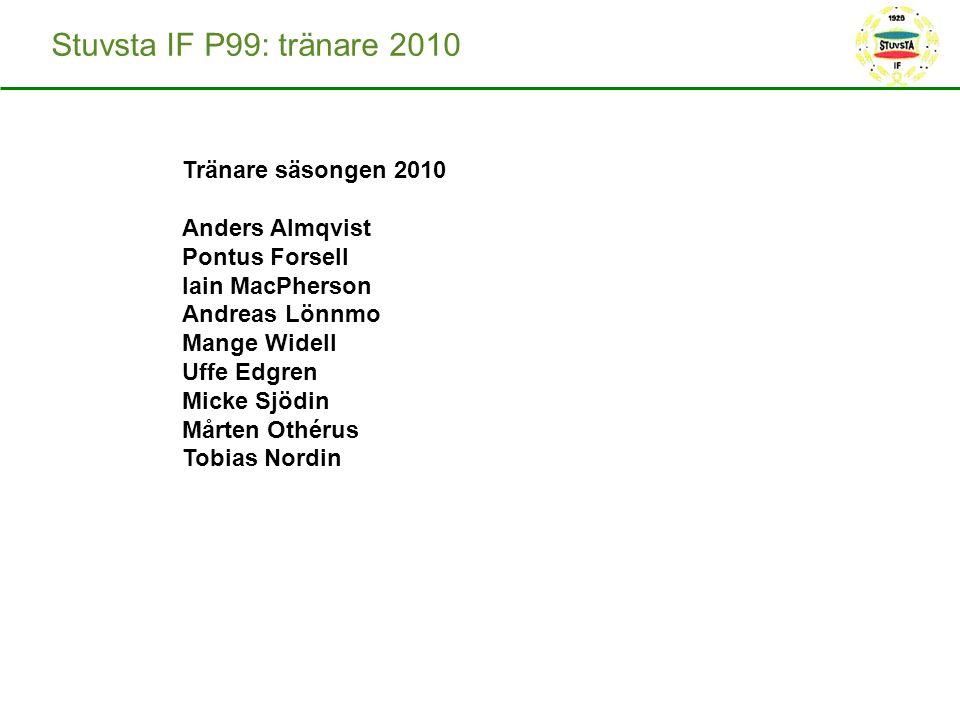 Stuvsta IF P99: tränare 2010 Tränare säsongen 2010 Anders Almqvist Pontus Forsell Iain MacPherson Andreas Lönnmo Mange Widell Uffe Edgren Micke Sjödin