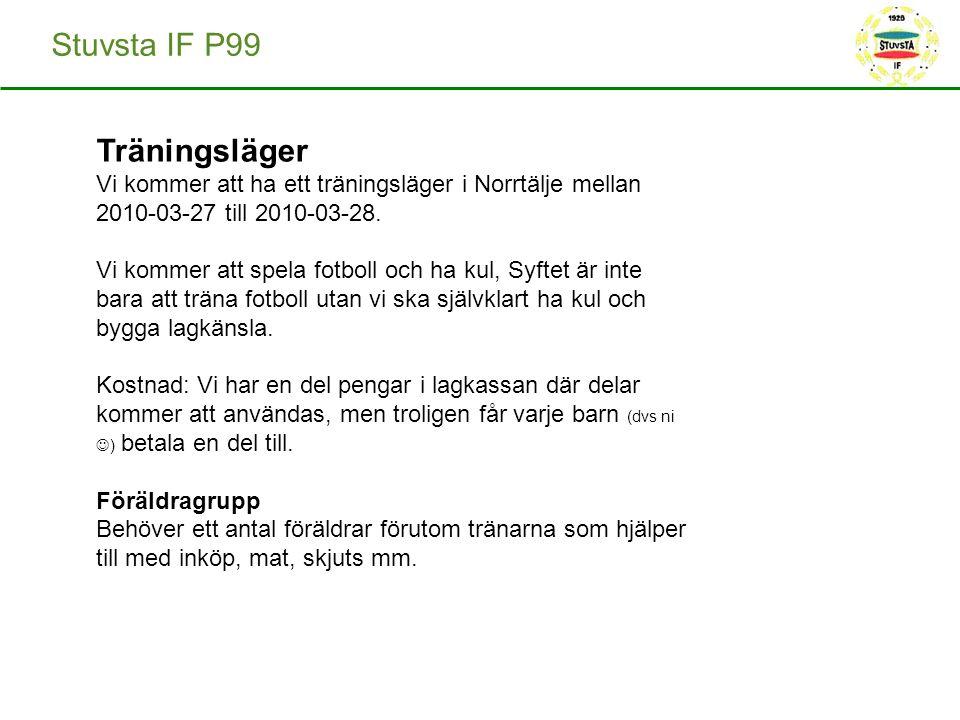 Stuvsta IF P99 Träningsläger Vi kommer att ha ett träningsläger i Norrtälje mellan 2010-03-27 till 2010-03-28. Vi kommer att spela fotboll och ha kul,