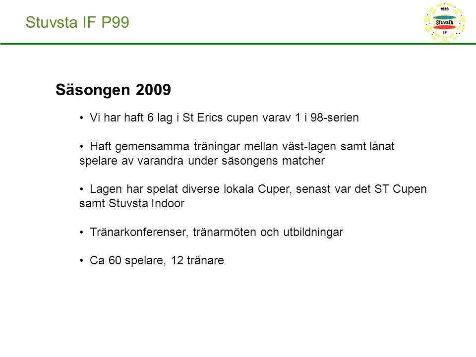 Stuvsta IF P99 Säsongen 2009 Vi har haft 6 lag i St Erics cupen varav 1 i 98-serien Haft gemensamma träningar mellan väst-lagen samt lånat spelare av