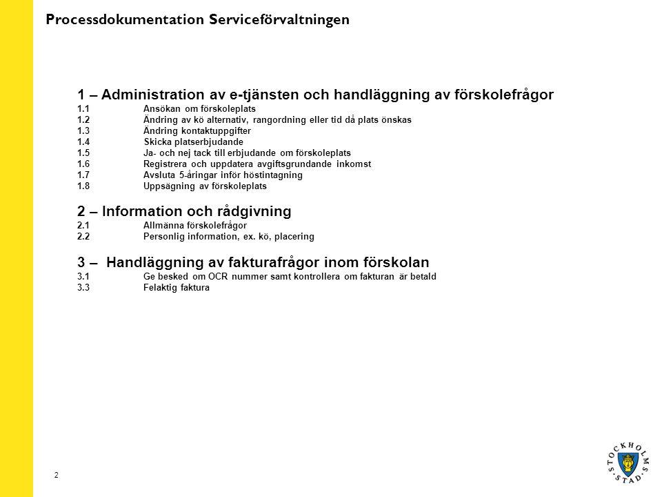 2 Processdokumentation Serviceförvaltningen 1 – Administration av e-tjänsten och handläggning av förskolefrågor 1.1 Ansökan om förskoleplats 1.2Ändring av kö alternativ, rangordning eller tid då plats önskas 1.3Ändring kontaktuppgifter 1.4Skicka platserbjudande 1.5Ja- och nej tack till erbjudande om förskoleplats 1.6Registrera och uppdatera avgiftsgrundande inkomst 1.7Avsluta 5-åringar inför höstintagning 1.8Uppsägning av förskoleplats 2 – Information och rådgivning 2.1Allmänna förskolefrågor 2.2 Personlig information, ex.
