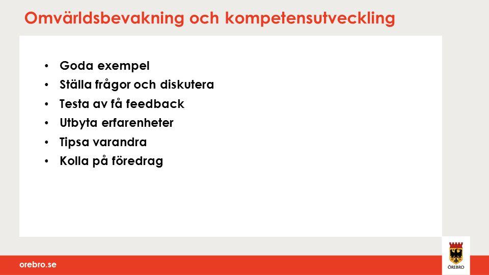 orebro.se Omvärldsbevakning och kompetensutveckling Goda exempel Ställa frågor och diskutera Testa av få feedback Utbyta erfarenheter Tipsa varandra Kolla på föredrag
