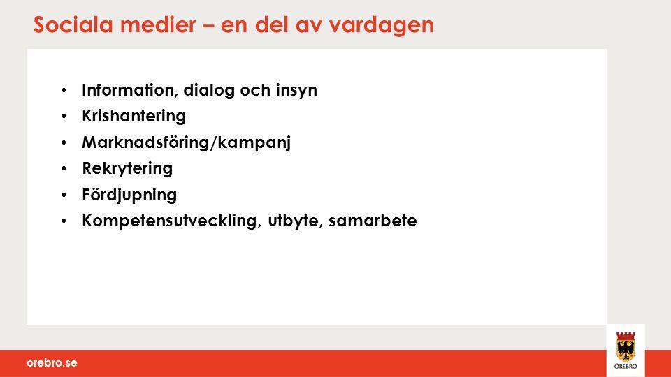 orebro.se Dialog, insyn och krishantering Twitter – informerar, tipsar och svarar på frågor twitter.com/orebrokommun twitter.com/orebrokommun Facebook – informerar, tipsar och svarar på frågor facebook.com/orebrokommun facebook.com/orebrokommun Förskolor/skolor, fritidsgårdar, grupper www.facebook.com/tegelbruket www.facebook.com/tegelbruket Bloggar – sakfrågor, äldreboenden, förskolor/skolor olmbrovintrosa.blogspot.se/ olmbrovintrosa.blogspot.se/ Youtube – teckenspråk, filmade presskonferenser, möten, Instruktionsfilmer youtube.com/user/Orebrokommun youtube.com/user/Orebrokommun