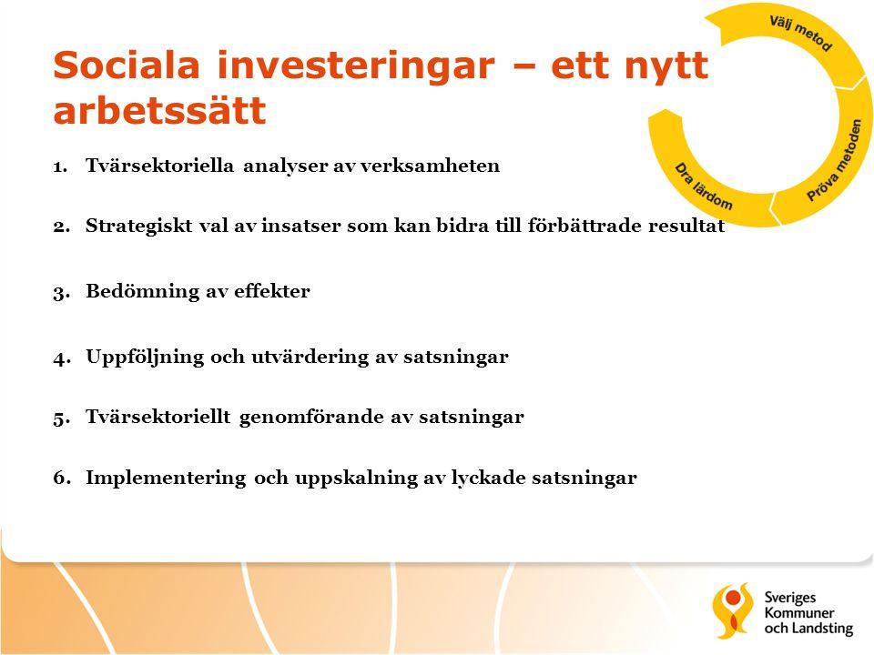 Sociala investeringar – ett nytt arbetssätt 1.Tvärsektoriella analyser av verksamheten 2.Strategiskt val av insatser som kan bidra till förbättrade resultat 3.Bedömning av effekter 4.Uppföljning och utvärdering av satsningar 5.Tvärsektoriellt genomförande av satsningar 6.Implementering och uppskalning av lyckade satsningar