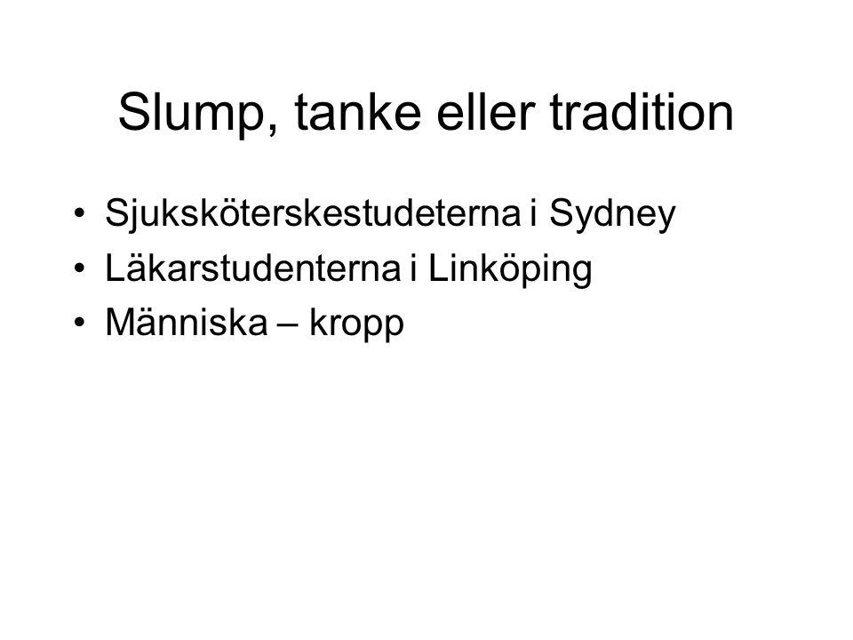 Slump, tanke eller tradition Sjuksköterskestudeterna i Sydney Läkarstudenterna i Linköping Människa – kropp
