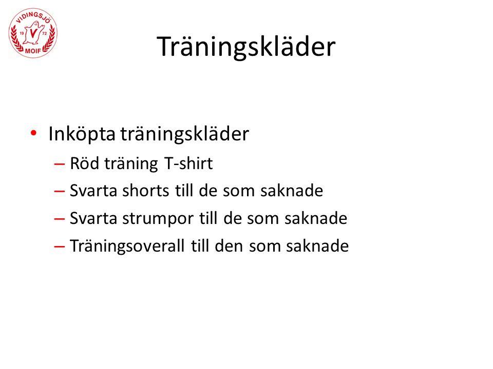 Inköpta träningskläder – Röd träning T-shirt – Svarta shorts till de som saknade – Svarta strumpor till de som saknade – Träningsoverall till den som saknade