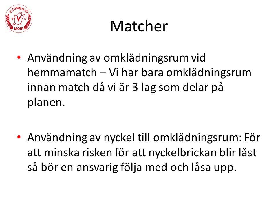 Matcher Användning av omklädningsrum vid hemmamatch – Vi har bara omklädningsrum innan match då vi är 3 lag som delar på planen.