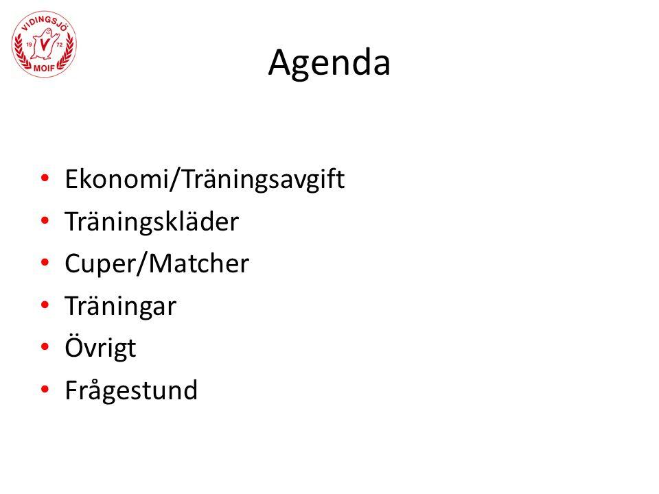 Agenda Ekonomi/Träningsavgift Träningskläder Cuper/Matcher Träningar Övrigt Frågestund
