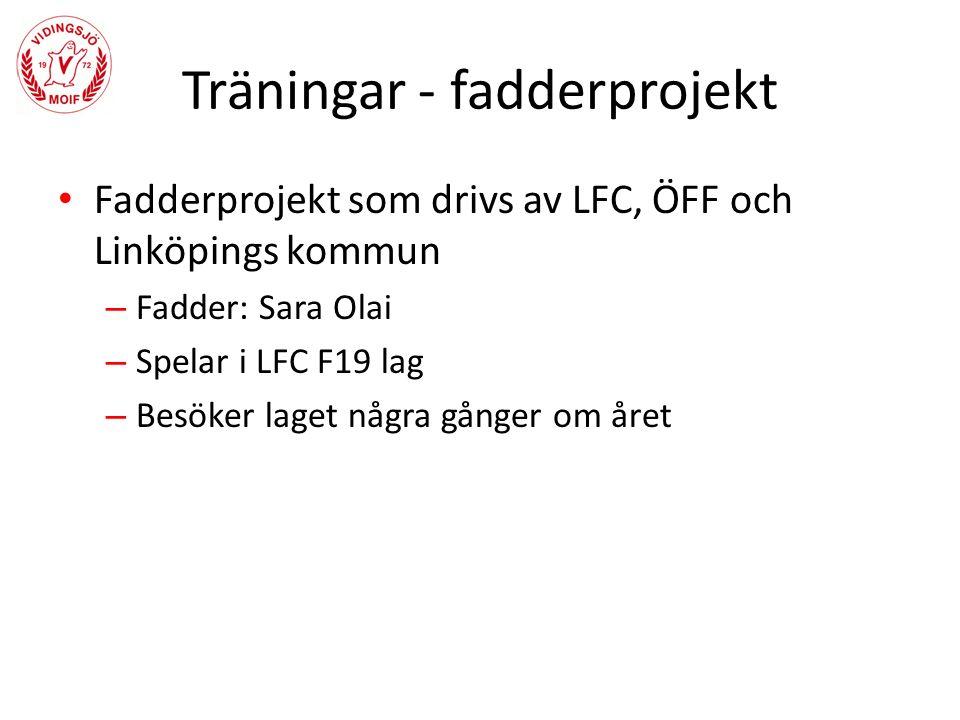 Träningar - fadderprojekt Fadderprojekt som drivs av LFC, ÖFF och Linköpings kommun – Fadder: Sara Olai – Spelar i LFC F19 lag – Besöker laget några gånger om året
