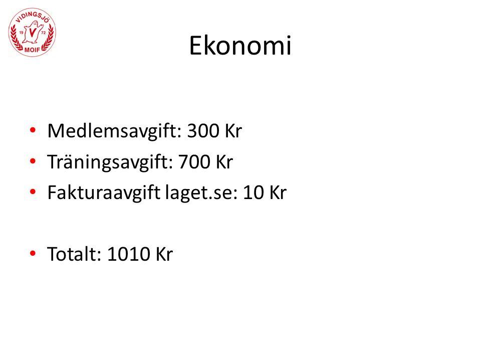 Medlemsavgift: 300 Kr Träningsavgift: 700 Kr Fakturaavgift laget.se: 10 Kr Totalt: 1010 Kr