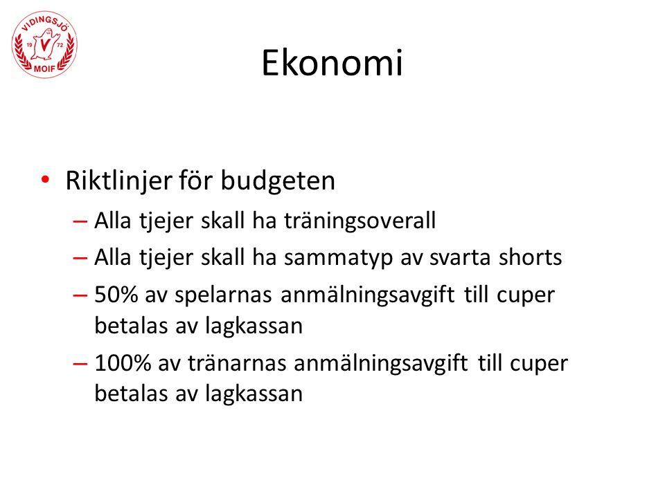 Ekonomi Riktlinjer för budgeten – Alla tjejer skall ha träningsoverall – Alla tjejer skall ha sammatyp av svarta shorts – 50% av spelarnas anmälningsavgift till cuper betalas av lagkassan – 100% av tränarnas anmälningsavgift till cuper betalas av lagkassan
