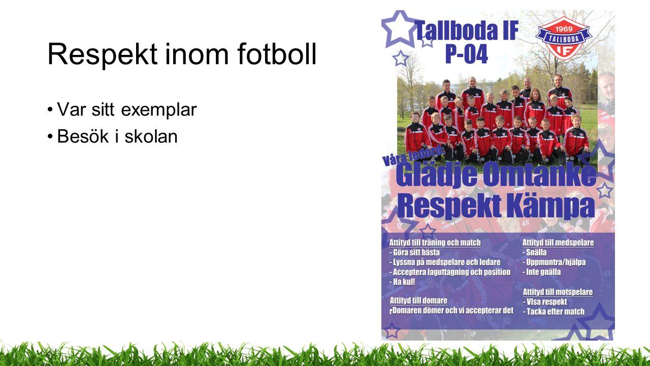 Respekt inom fotboll Var sitt exemplar Besök i skolan