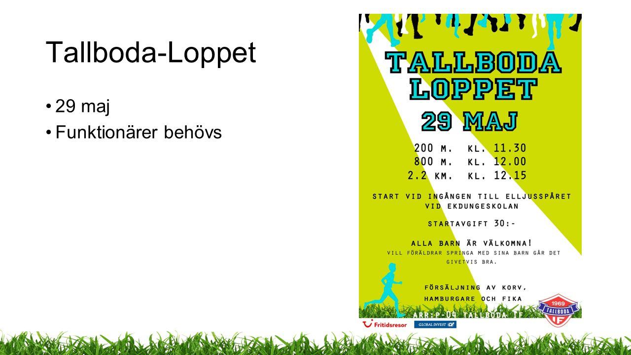 Tallboda-Loppet 29 maj Funktionärer behövs
