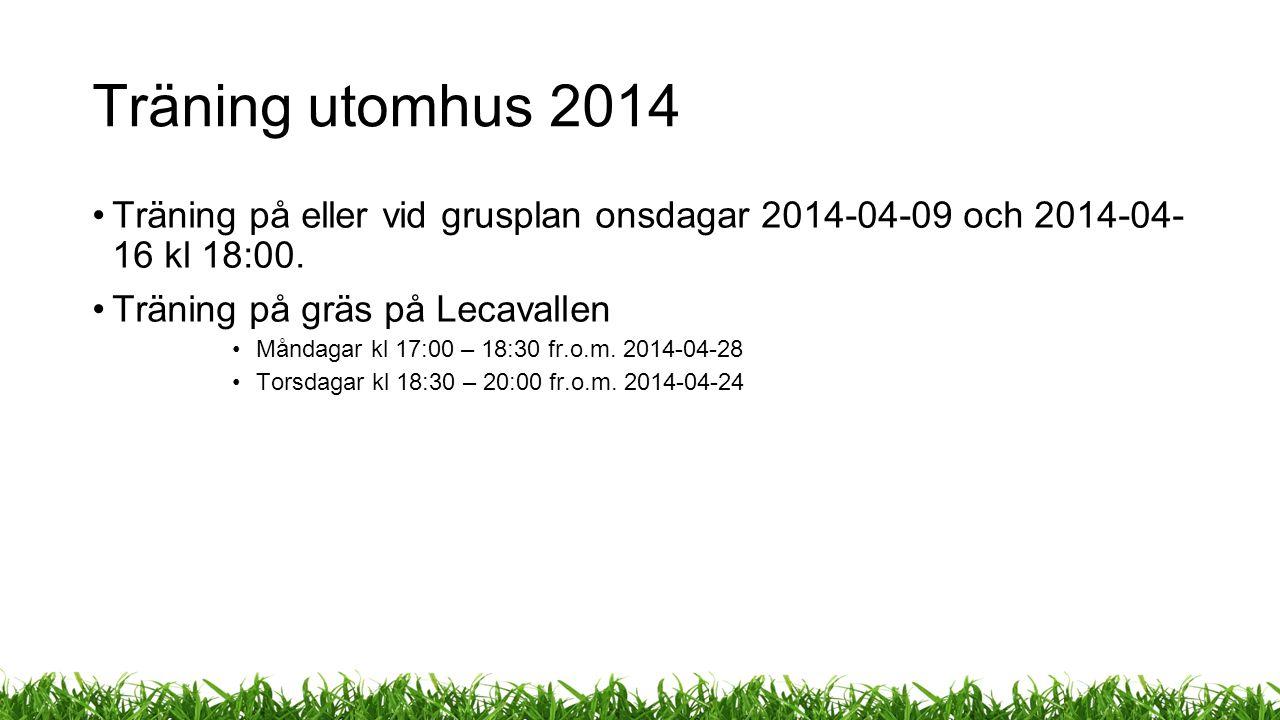 Träning utomhus 2014 Träning på eller vid grusplan onsdagar 2014-04-09 och 2014-04- 16 kl 18:00.