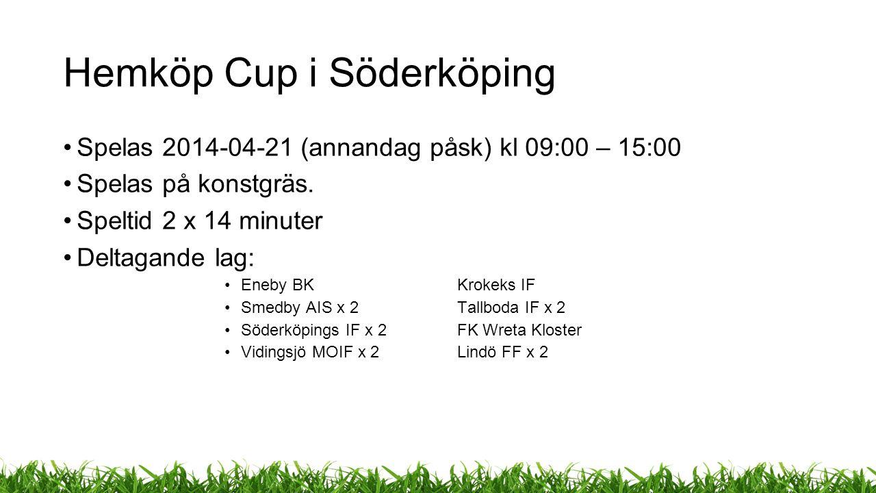 Hemköp Cup i Söderköping Spelas 2014-04-21 (annandag påsk) kl 09:00 – 15:00 Spelas på konstgräs.