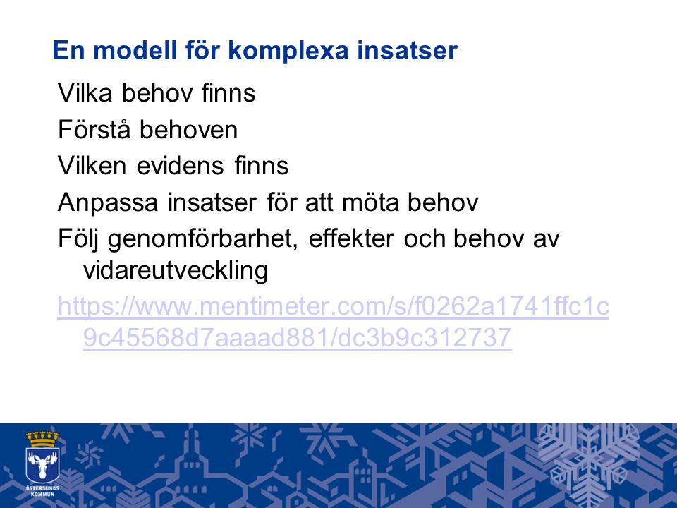 En modell för komplexa insatser Vilka behov finns Förstå behoven Vilken evidens finns Anpassa insatser för att möta behov Följ genomförbarhet, effekter och behov av vidareutveckling https://www.mentimeter.com/s/f0262a1741ffc1c 9c45568d7aaaad881/dc3b9c312737
