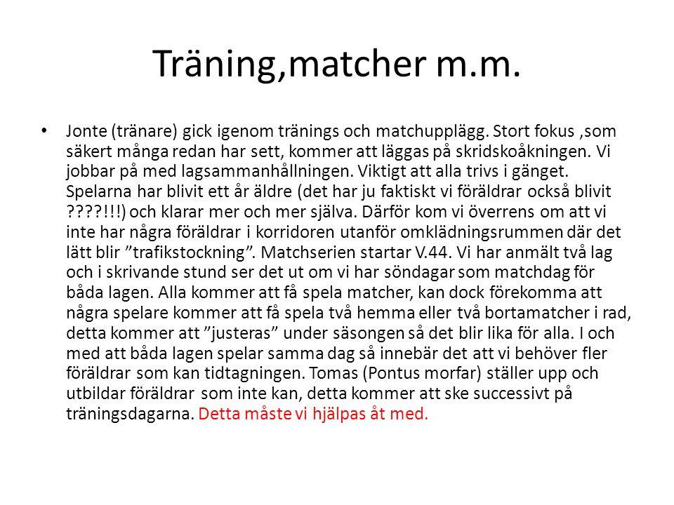 Träning,matcher m.m.Jonte (tränare) gick igenom tränings och matchupplägg.