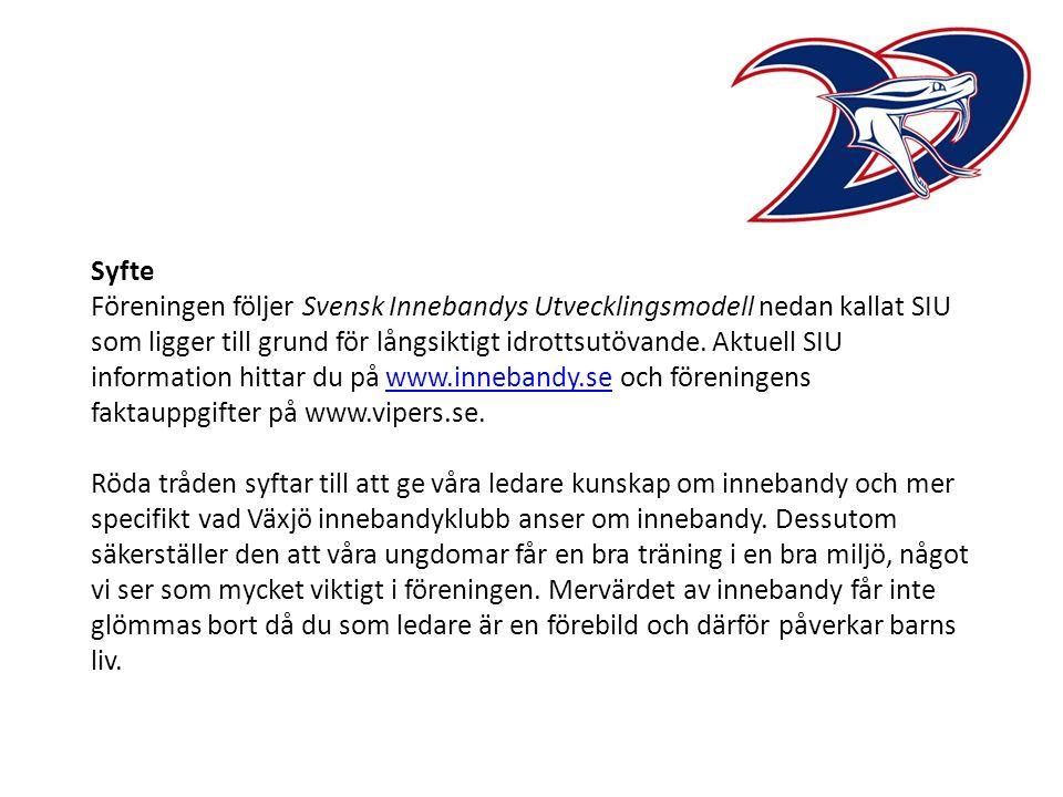 Syfte Föreningen följer Svensk Innebandys Utvecklingsmodell nedan kallat SIU som ligger till grund för långsiktigt idrottsutövande.