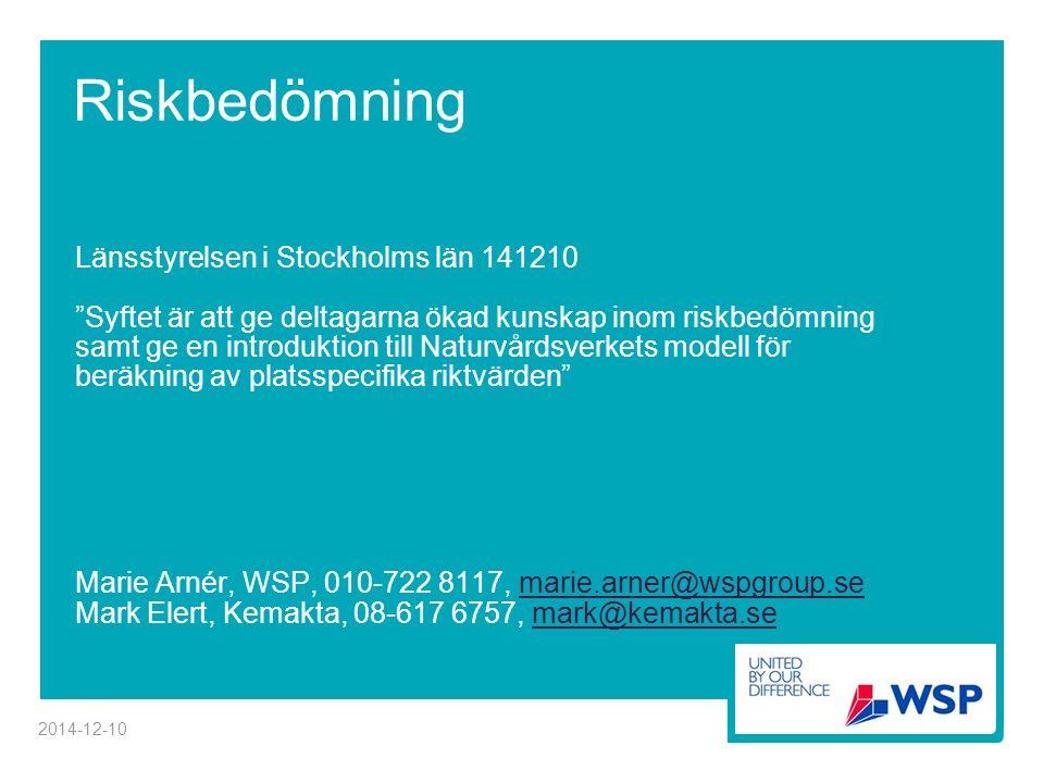 Riskbedömning Länsstyrelsen i Stockholms län 141210 Syftet är att ge deltagarna ökad kunskap inom riskbedömning samt ge en introduktion till Naturvårdsverkets modell för beräkning av platsspecifika riktvärden Marie Arnér, WSP, 010-722 8117, marie.arner@wspgroup.semarie.arner@wspgroup.se Mark Elert, Kemakta, 08-617 6757, mark@kemakta.semark@kemakta.se 2014-12-10