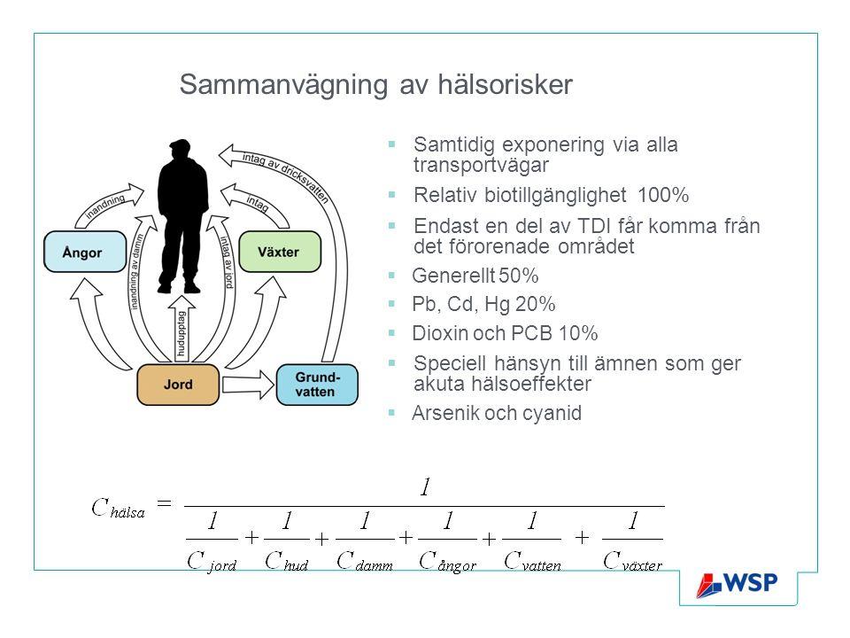 Sammanvägning av hälsorisker  Samtidig exponering via alla transportvägar  Relativ biotillgänglighet 100%  Endast en del av TDI får komma från det
