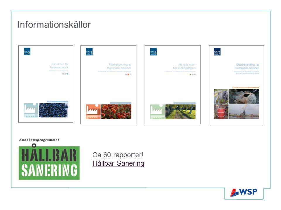 Informationskällor Ca 60 rapporter! Hållbar Sanering