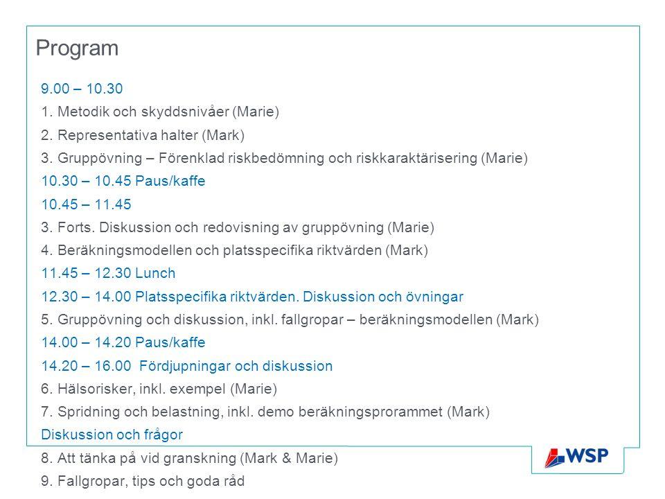 Program 9.00 – 10.30 1. Metodik och skyddsnivåer (Marie) 2. Representativa halter (Mark) 3. Gruppövning – Förenklad riskbedömning och riskkaraktäriser