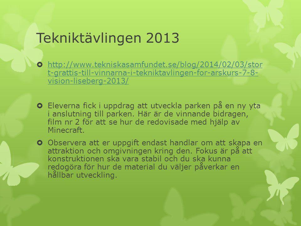 Tekniktävlingen 2013  http://www.tekniskasamfundet.se/blog/2014/02/03/stor t-grattis-till-vinnarna-i-tekniktavlingen-for-arskurs-7-8- vision-liseberg-2013/ http://www.tekniskasamfundet.se/blog/2014/02/03/stor t-grattis-till-vinnarna-i-tekniktavlingen-for-arskurs-7-8- vision-liseberg-2013/  Eleverna fick i uppdrag att utveckla parken på en ny yta i anslutning till parken.