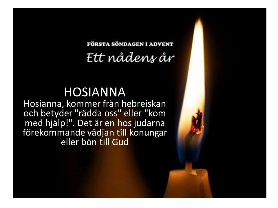 HOSIANNA Hosianna, kommer från hebreiskan och betyder rädda oss eller kom med hjälp! .
