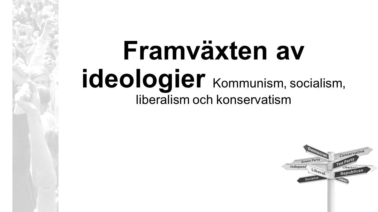Framväxten av ideologier Kommunism, socialism, liberalism och konservatism