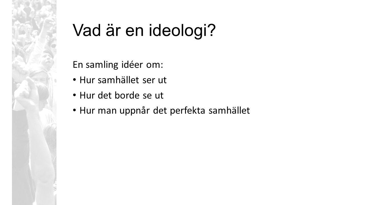 Vad är en ideologi? En samling idéer om: Hur samhället ser ut Hur det borde se ut Hur man uppnår det perfekta samhället